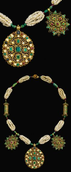 Morocco | Gem-set and seed pearl gold necklace (Tazra) | 18th century | 12'500£ ~ Sold (Apr '12)