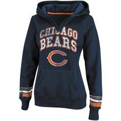 Chicago Bears Ladies Preseason Favorite II Pullover Hoodie - Navy Blue