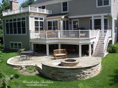 Low maintenance deck with stone paver patio and fire pit Fire Pit Landscaping, Fire Pit Backyard, Backyard Patio, Firepit Deck, Landscaping Ideas, Patio Ideas, Pergola Ideas, Backyard Ideas, Garden Ideas