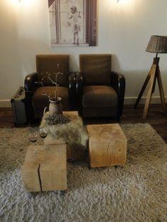 Boomstam meubels van eikenhout - mooie salontafel- ✔ Stoereplanken.nl