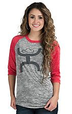 HOOey Women's Grey and Red Burnout Tee Shirt