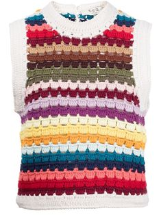 Multicolour Ziggy crochet vest from Sea featuring crochet design, rainbow stripe detailing, crew neck, rear button fastening, sleeveless and cropped.