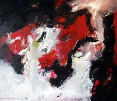 Dramatisch rood, 1994  Kunstenaar: Charlotte Molenkamp  acryl/alkyd/olie op doek  138 x 158 cm (142 x 163 cm)