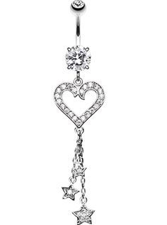 Heart Star Sparkles Belly Button Ring