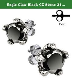 """Eagle Claw Black CZ Stone 316L Surgical Steel Fashion Earrings / Unique Gifts and Souvenir. Eagle Claw Black CZ Stone 316L Surgical Steel Fashion Earrings / Unique Gifts and Souvenir. Post Earring. Add these beautiful earrings to your cart right now by clicking """"Add to Cart""""."""