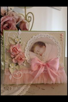 Shabby chic baby card, maybe a baby book cover