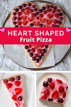"""Heart Shaped Fruit Pizza is the perfect Valentine's Day treat. The easy dessert features a sugar cookie crust, cream cheese frosting """"sauce"""", and assorted fruit slices as toppings. Kids will love helping you make this simple Valentine's dessert. #heartshapeddessert #fruitdesserts #Valentinesday"""