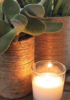 Jute Wrapped Tin Cans- I thought it would be a cool idea to wrap tin cans in jute for a centerpiece. I was planning on filling them with flowers, but when I saw how great they looked with cacti and sucullents.....that's the route I took