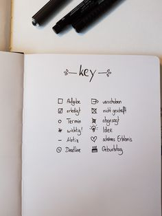 """KEY"" auf deutsch für ein Bullet journal   #bulletjournal #key #inspiration"