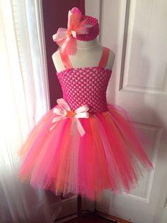 Pink and Orange Tutu Dress by Arribelle on Etsy, $45.00