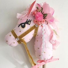After hours and hours and I mean hours of late night sewing and assembling, the hobby horses are finished! Sewing Blogs, Sewing Projects, Embroidery Patterns, Machine Embroidery, Tilda Toy, Stick Horses, Pink Dragon, Headband Tutorial, Hobby Horse