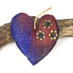 Blue and red merino wool felt hanging padded heart (2) £4.00