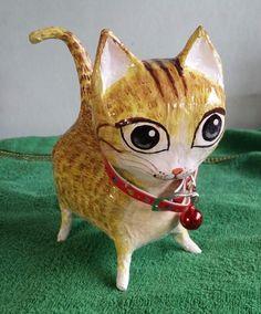 Vintage Paper Mache Cat Cute Loyal Honest Lovely Art Unique Thai Hand Crafted…