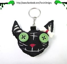 ZOMBIE CAT CHARM key chain bag charm voodoo doll by TocsinDesigns, $13.99