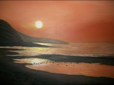 North Cypress Beach sunset in acrylic