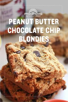 Peanut Butter Chocolate Chip Blondies with Protein-Packed Chickpeas | Madhava