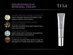 #TriaBeauty's nourishing eye cream soothes skin following laser treatment while replenishing moisture and reducing the appearance of puffiness, fine lines, and wrinkles. It is specially formulated with Hyaluronic Acid and Ginger Extract to help soothe and hydrate laser-treated skin, along with Retinol to help minimize fine lines and wrinkles around the eyes. The metal applicator helps calm and cool skin after laser treatment.