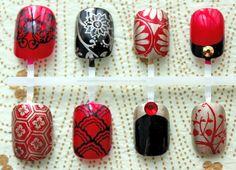 Kyoto Enchantment. Japanese Nail Art, Fake Nails, False Nails, Kimono Press On Nails. Red Black And Gold Asian Style Japanese Pattern Nail