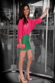 Blusa Rosa $499  Falda Verde $499  Bolsa Rosa $699