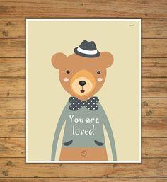 bear nursery print nursery decor nursery print by Ilustracionymas