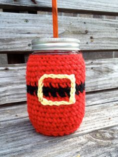Christmas Mason Jar Sipper with Santa Suit Cozy  (16 oz) on Etsy, $10.00