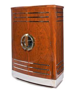 Classic 30s Walnut Chrome Art Deco Bar In Pristine Condition