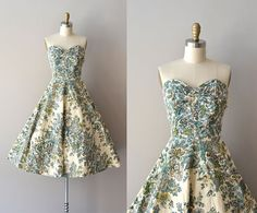 ~1950s dress / strapless 50s dress~I like the shape and cut but not so much the design on the fabric