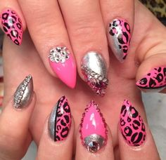 Silver black pink stiletto nails
