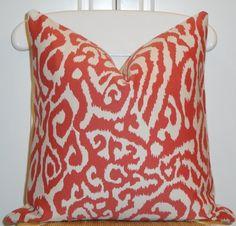 Beautiful Decorative Pillow Cover - 18 x 18 - Animal Print - Throw Pillow - Accent Pillow - Persimmon. $45.00, via Etsy.