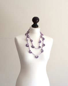 Crochet Necklace Lavender Flowers Lilac from ReddApple Design