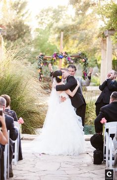 Jackie + Sean | First Kiss as Mr and Mrs | Lady Bird Johnson Wildflower Center | Austin, TX | Cory Ryan Photography | Verbena Floral | Pearl Events Austin | www.pearleventsaustin.com