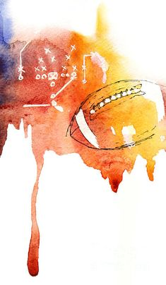 American football ball, watercolor on paper