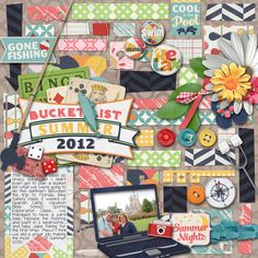 Free Digital Scrapbook Kit and Template set for August. Perfect for camping, gaming, outdoor adventures, movie night, game night, and summer vacations!