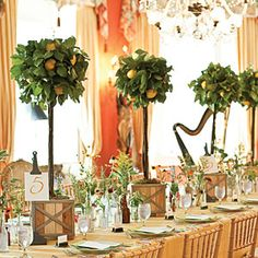 Wedding Table Centerpieces | Whimsical Lemon Tree Centerpiece | SouthernLiving.com