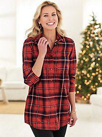 dc101432cf2 Wrinkle-Resistant Plaid Big Shirt Plaid Christmas