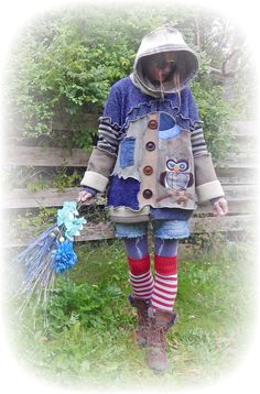 Owl Upcycled Jumper Recycled Hoodie Folk Bird Cute Whimsical Snood Sweater Blue Faux Fur Eco Friendly Clothing Wearable Art Size Large / X-L