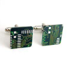 Circuit Board Cufflinks -- Green, Square -- Classy Geek Gear