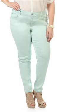 mint green jeans w/ light pink top and blue heals | Colorful Jeans ...