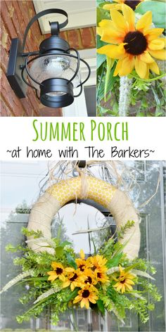 Summer Porch Including DIY Sunflower Wreath and New Lantern Lights I have a really small porch and NO room for any decor so I have to make every thing I put there count. I made a faux sunflower wreath and added new lantern ligh… Summer Porch, Summer Diy, Summer Crafts, Summer Ideas, Wreath Crafts, Diy Wreath, Mesh Wreaths, Wreath Ideas, Small Front Porches