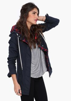 Babar Hooded Jacket in Navy, cute plaid interior.