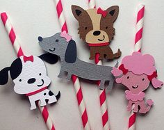 12 Girly Puppy Party Straws, Puppy Party, Birthday, Baby Shower, Cupcake Toppers, Centerpieces, Banners, Tiaras, Princess, Dogs