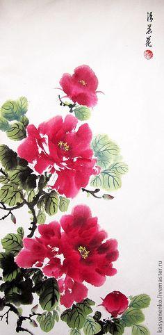 Купить Раннее утро. Бордовые пионы - елена касьяненко, китайская живопись, гохуа, пионы