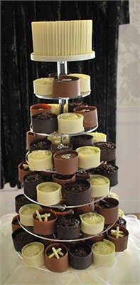 Chocolate Wedding Cake With Individual Cakes10 Dreamy Dresses Ideas For Brides Via Hitched Steelasophical Steel Band