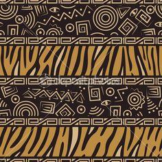африканский стиль бесшовный образец — Векторная картинка #6885702