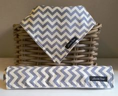Grey Chevron Dribble Bib / Burp Cloth