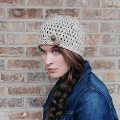 FREE Simple Crochet Oatmeal Button Hat Pattern via Rescued Paw Designs