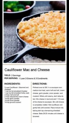 Medifast Recipes, Vegetable Recipes, Healthy Recipes, Lean Protein Meals, Lean Meals, Healthy Cooking, Healthy Eating, Cooking Recipes, Califlower Mac And Cheese