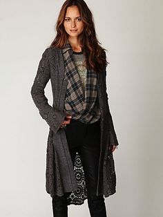 Free People Crochet Long Sweater Jacket at Free People Clothing Boutique - StyleSays