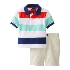 Nautica Baby Boys Summer Striped Polo and Shorts Set