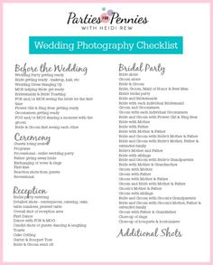 Wedding Photography Checklist by PartiesforPennies.com